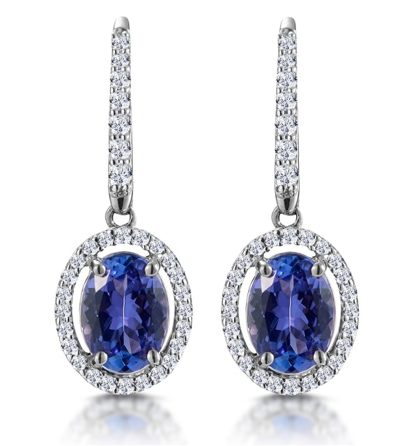 1.6ct Tanzanite and Diamond Halo Earrings 18KW Gold Asteria Collection - image 1