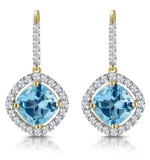2.5ct Blue Topaz and Lab Diamond Halo Earrings 9K Gold Asteria