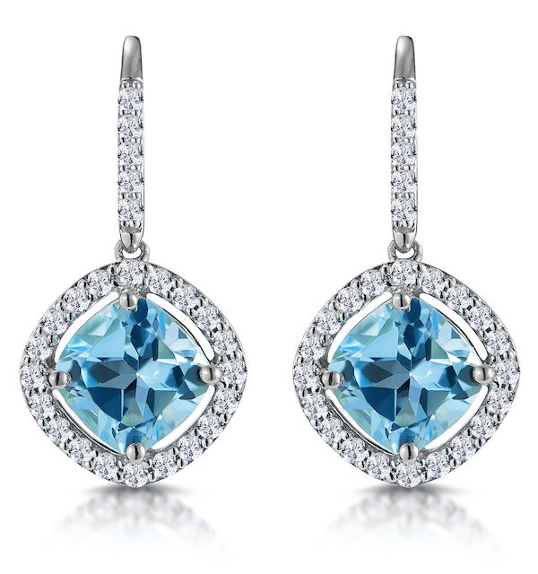 2.5ct Blue Topaz and Diamond Halo Asteria Earrings 18K White Gold - image 1