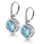 2.5ct Blue Topaz and Diamond Halo Asteria Earrings 18K White Gold - image 3