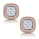 Diamond and Pink Diamond Halo Asteria Oval Earrings in 18K Rose Gold - image 1