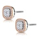 Diamond and Pink Diamond Halo Asteria Oval Earrings in 18K Rose Gold - image 3