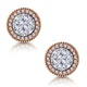Diamond and Pink Diamond Halo Asteria Circle Earrings 18K Rose Gold - image 1