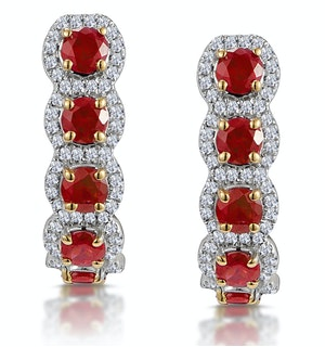 1.50ct Ruby and Diamond Halo Asteria Earrings in 18K Gold