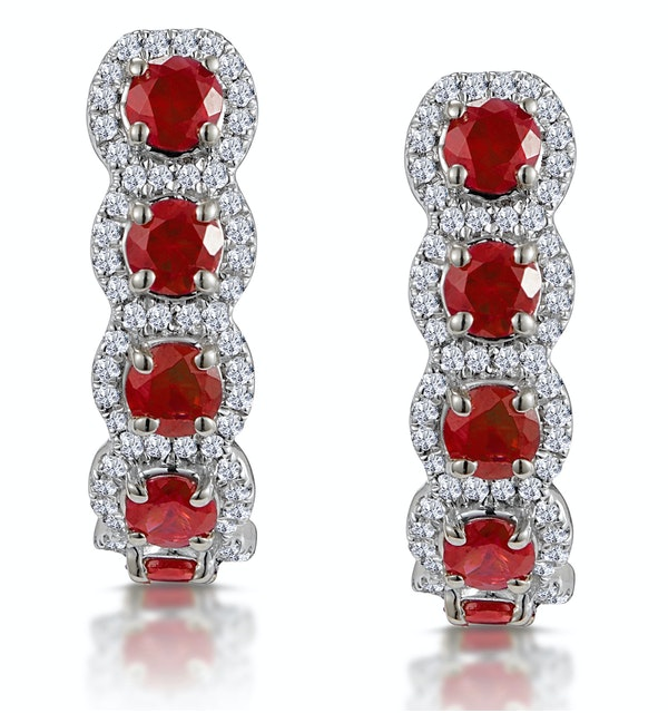 1.50ct Ruby and Diamond Halo Asteria Earrings in 18K White Gold - image 1