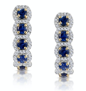 1.50ct Sapphire Diamond Halo Asteria Earrings in 18K Gold