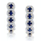 1.50ct Sapphire Diamond Halo Asteria Earrings in 18K Gold - image 1