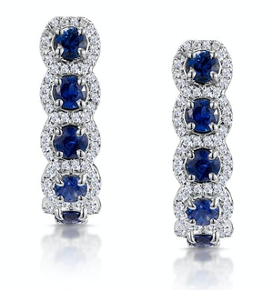 1.50ct Sapphire Diamond Halo Asteria Earrings in 18K White Gold