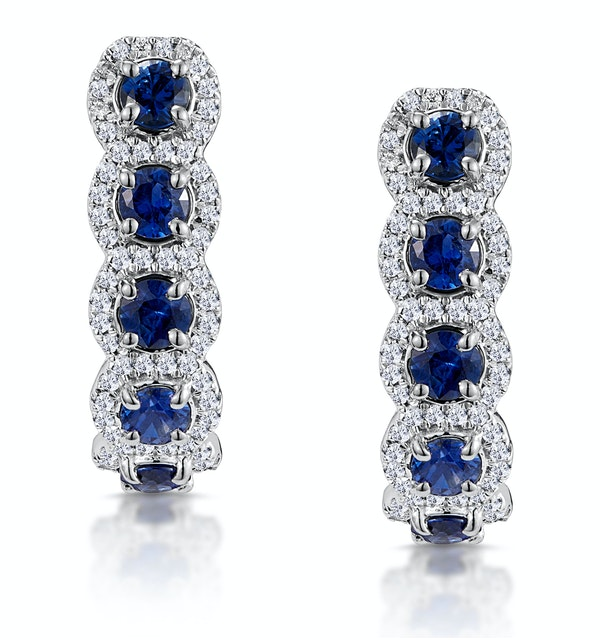 1.50ct Sapphire Diamond Halo Asteria Earrings in 18K White Gold - image 1