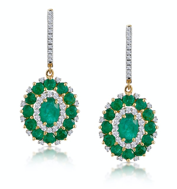 2.50ct Emerald Asteria Collection Diamond Drop Earrings in 18K Gold - image 1