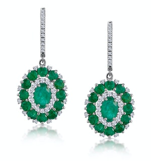 2.50ct Emerald Asteria Diamond Drop Earrings in 18K White Gold