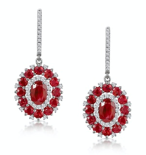 2.50ct Ruby Asteria Diamond Drop Earrings in 18K White Gold