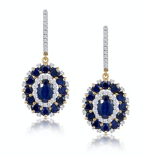 2.85ct Sapphire Asteria Collection Diamond Drop Earrings in 18K Gold