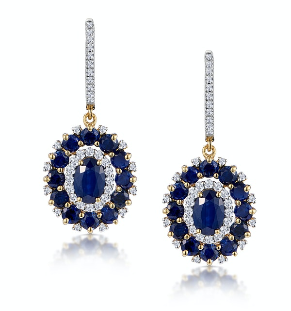 2.85ct Sapphire Asteria Collection Diamond Drop Earrings in 18K Gold - image 1