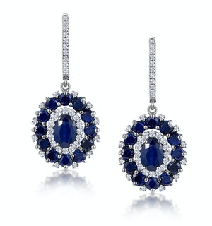 2.85ct Sapphire Asteria Diamond Drop Earrings in 18K White Gold
