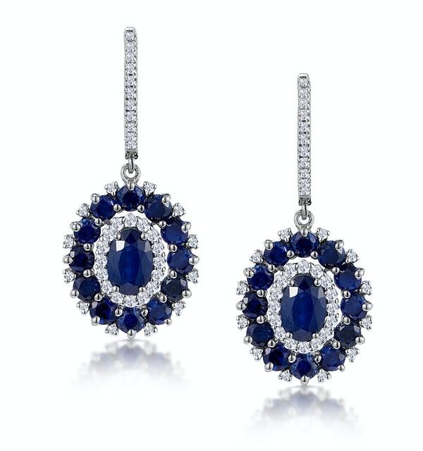 2.85ct Sapphire Asteria Diamond Drop Earrings in 18K White Gold - image 1
