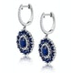 2.85ct Sapphire Asteria Diamond Drop Earrings in 18K White Gold - image 2