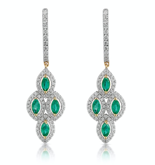 1.10ct Emerald Asteria Collection Diamond Drop Earrings in 18K Gold - image 1