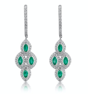 1.10ct Emerald Asteria Diamond Drop Earrings in 18K White Gold