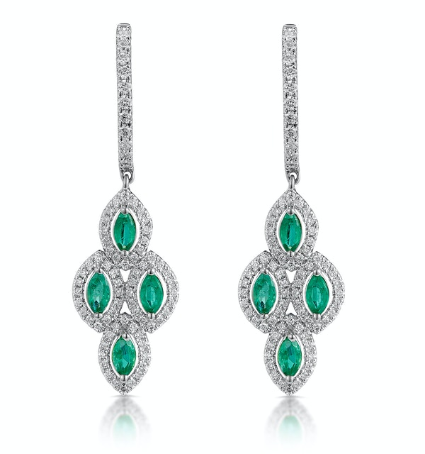 1.10ct Emerald Asteria Diamond Drop Earrings in 18K White Gold - image 1
