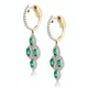 1.10ct Emerald Asteria Collection Diamond Drop Earrings in 18K Gold - image 2