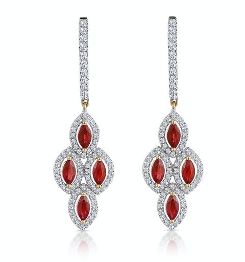 1.40ct Ruby Asteria Collection Diamond Drop Earrings in 18K Gold - image 1