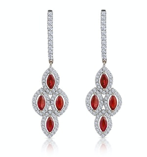 1.40ct Ruby Asteria Collection Diamond Drop Earrings 18K White Gold