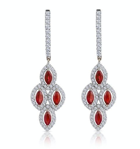 1.40ct Ruby Asteria Collection Diamond Drop Earrings 18K White Gold - image 1