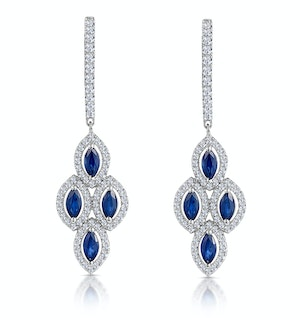 1.45ct Sapphire Asteria Diamond Drop Earrings in 18K White Gold