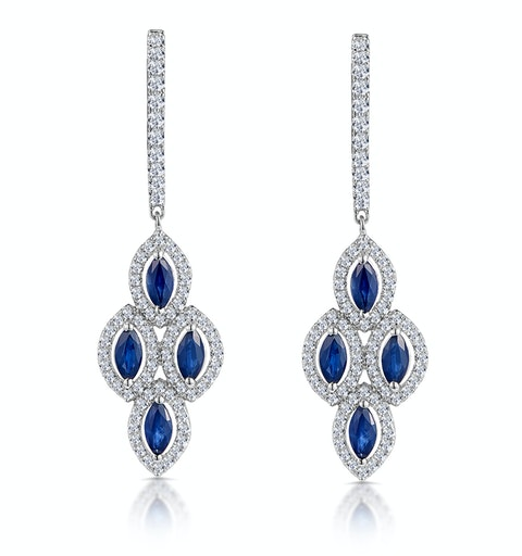 1.45ct Sapphire Asteria Diamond Drop Earrings in 18K White Gold - image 1