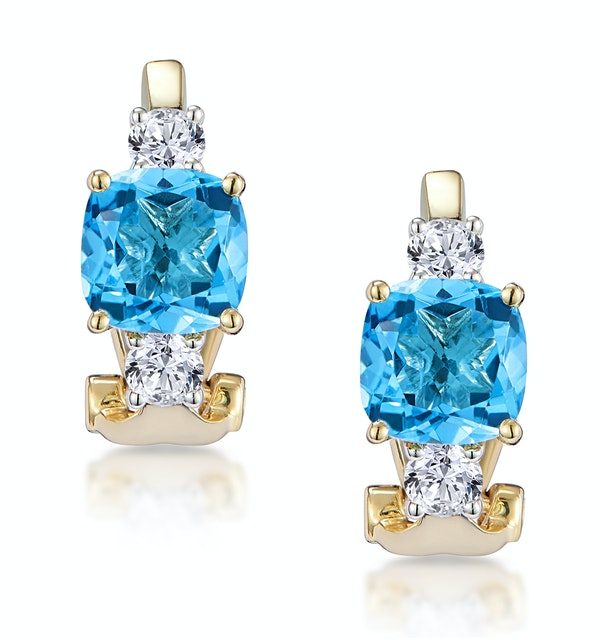2.50ct Blue Topaz Asteria Collection Diamond Earrings in 18K Gold - image 1