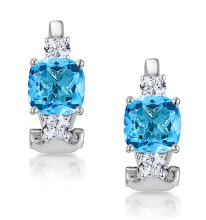 2.50ct Blue Topaz Asteria Collection Diamond Earrings 18K White Gold