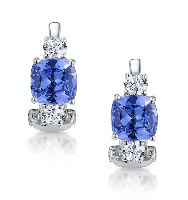 2.20ct Tanzanite Asteria Collection Diamond Earrings 18K White Gold - image 1