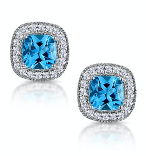 3ct Blue Topaz Asteria Diamond Halo Earrings in 18K White Gold
