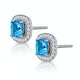 3ct Blue Topaz Asteria Diamond Halo Earrings in 18K White Gold - image 2