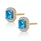 3ct Blue Topaz Asteria Collection Diamond Halo Earrings in 18K Gold - image 2