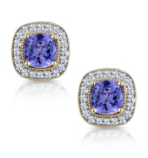 2.20ct Tanzanite Asteria Collection Diamond Halo Earrings in 18K Gold