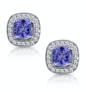 2.20ct Tanzanite Asteria Diamond Halo Earrings in White 18K Gold