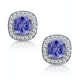 2.20ct Tanzanite Asteria Diamond Halo Earrings in White 18K Gold - image 1