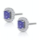 2.20ct Tanzanite Asteria Diamond Halo Earrings in White 18K Gold - image 2