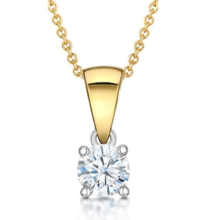 Chloe 18K Gold Lab Diamond Solitaire Necklace 0.33CT F/VS