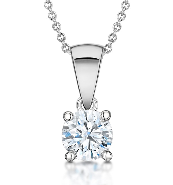 Diamond Solitaire Necklace 0.50ct Chloe Certified in Platinum E/VS2 - image 1