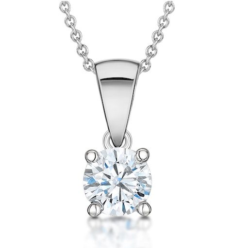 Diamond Solitaire Necklace 0.50ct Chloe Certified in Platinum E/VS1 - image 1