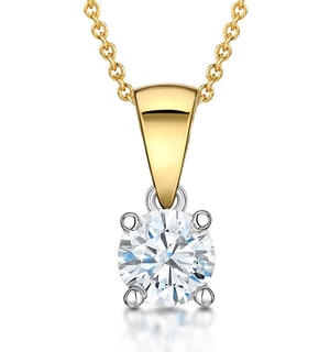 Chloe Certified 0.50ct Lab Diamond Solitaire Necklace 18K Gold F/VS1