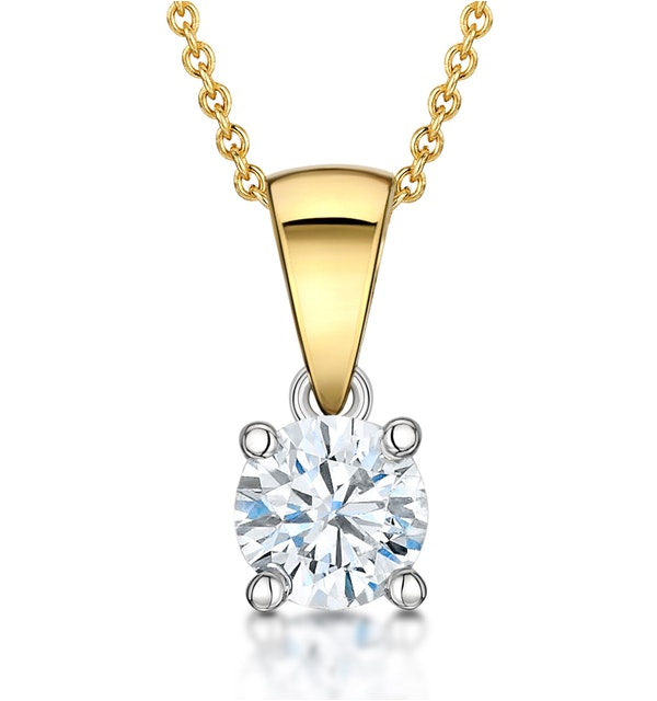 Chloe Certified 0.50ct Lab Diamond Solitaire Necklace 18K Gold H/SI1 - image 1