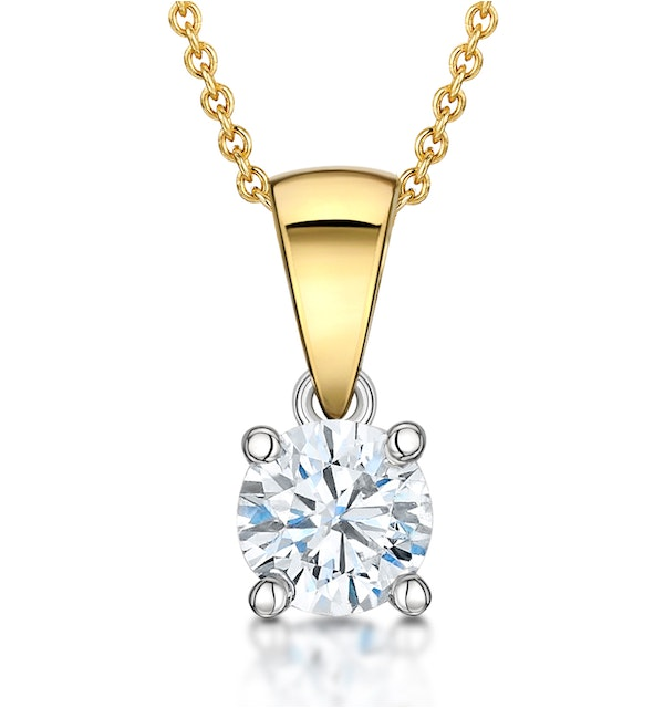Chloe Certified 0.50ct Lab Diamond Solitaire Necklace 18K Gold F/VS1 - image 1