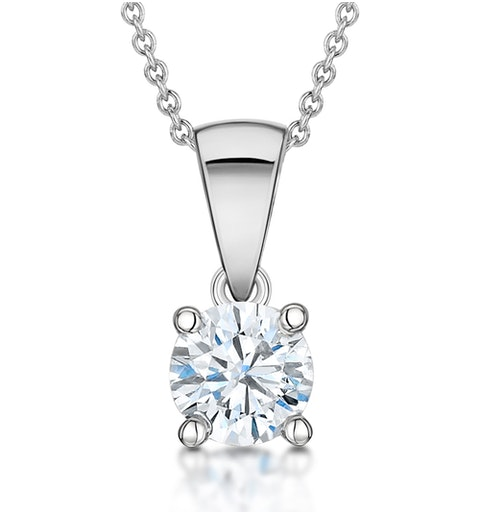 Diamond Solitaire Necklace 0.70ct Chloe Certified in 18KW Gold E/VS1 - image 1