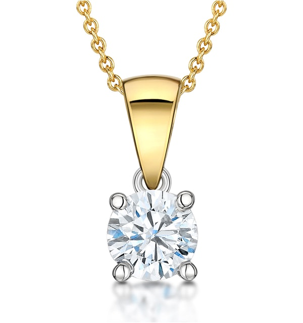 Chloe Certified 0.70ct Diamond Solitaire Necklace in 18K Gold E/VS1 - image 1
