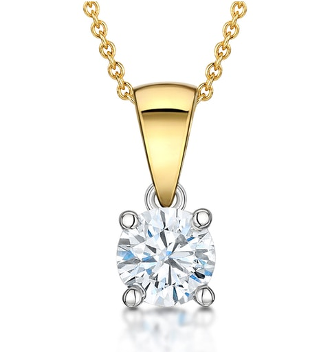 Chloe Certified 0.70ct Diamond Solitaire Necklace in 18K Gold G/SI2 - image 1