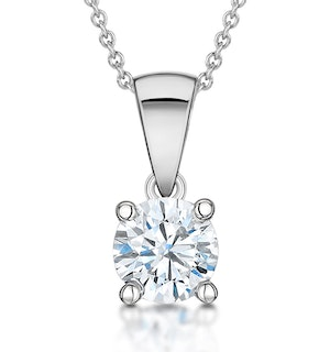 Diamond Solitaire Necklace 0.90ct Chloe Certified in 18KW Gold G/SI1